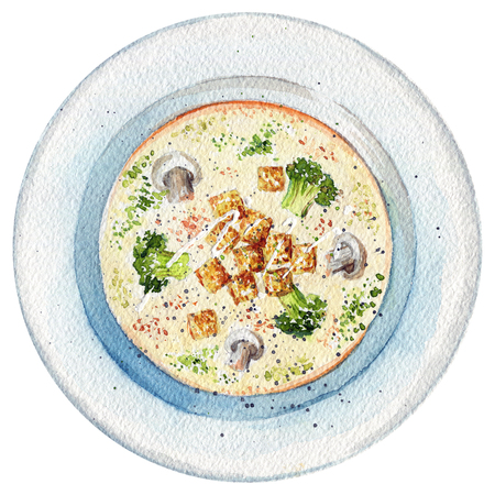 Cream soup on a plate with toasts, champignons and broccoli. Picture isolated at white background above view. Watercolor hand painted illustration