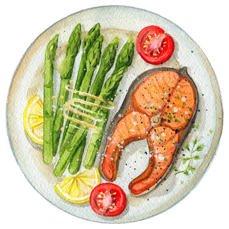 Steak from red fish on a plate with asparagus, lemon and tomatoes. Picture isolated at white background above view. Watercolor hand painted illustration Archivio Fotografico - 104294641