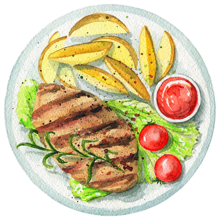 Red meat steak on a plate with green salad, ketchup, potatoes and tomatoes. Picture isolated at white background above view. Watercolor hand painted illustration