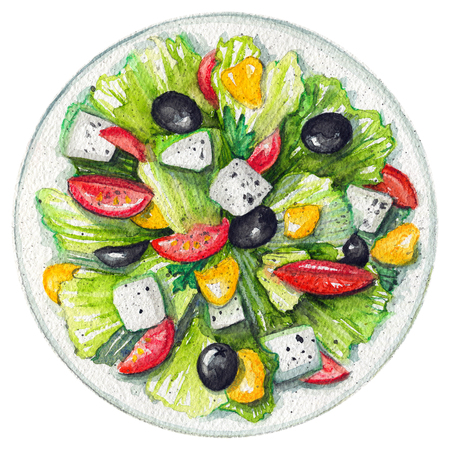 Greek salad on a plate with cheese feta, green salad, olives, sweet pepper and tomatoes. Picture isolated at white background above view. Watercolor hand painted illustration