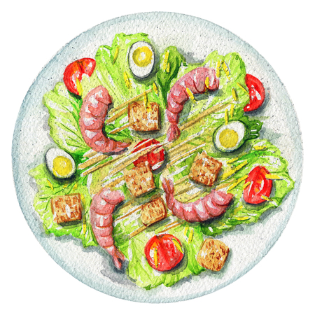 Caesar salad on a plate with quail eggs, shrimp, sauce, toasts and tomatoes. Picture isolated at white background above view. Watercolor hand painted illustration