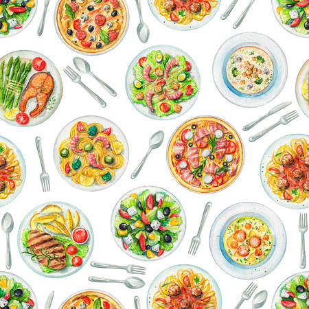 Seamless pattern with salads, pasta, pizzas, soups, cutlery and dishes with two options of steaks on white background. Watercolor hand painted illustration Stock Photo