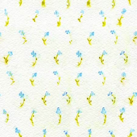 Seamless pattern with little blue flowers on paper texture. Watercolor hand-applied illustration