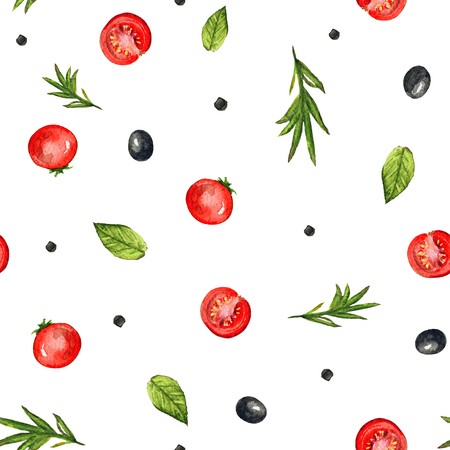 Seamless pattern with olives, cherry tomatoes, herbs and peppers on white background. Watercolor hand painted illustration