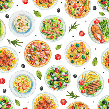 Seamless pattern with salads, pasta, pizzas, soups, vegetables and dishes with two options of steaks on white background. Watercolor hand painted illustration