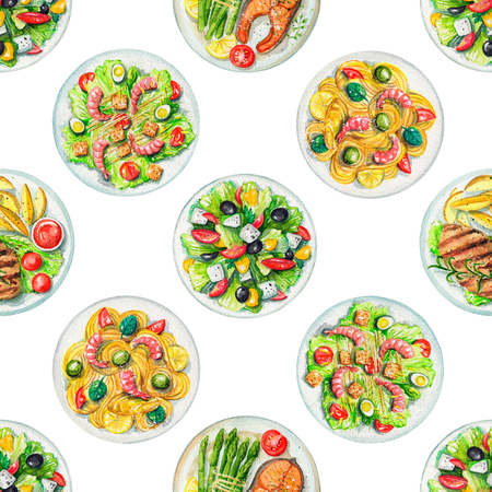 Seamless pattern with salads, pasta and dishes with two options of steaks on white background. Watercolor hand painted illustration