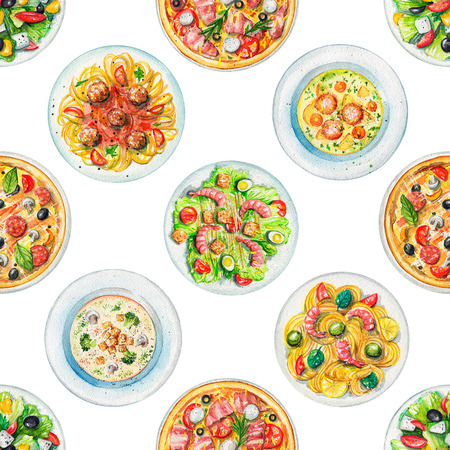 Seamless pattern with salads, pasta, pizzas and soups on white background. Watercolor hand painted illustration 写真素材
