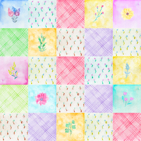 Seamless pattern with colorful with scraps and flowers. Colorful painted watercolor patchwork quilt illustration Zdjęcie Seryjne - 105222004