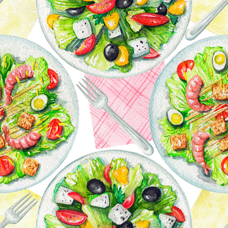 Seamless pattern with two kinds of salads on a plate, napkins and tableware. Watercolor hand painted illustration