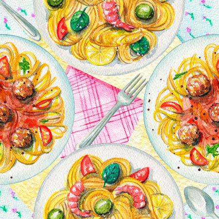 Seamless pattern with two kinds of pasta on a plate, napkins and tableware. Watercolor hand painted illustration 版權商用圖片