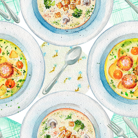 Seamless pattern with two kinds of  soups on a plate, napkins and tableware. Watercolor hand painted illustration