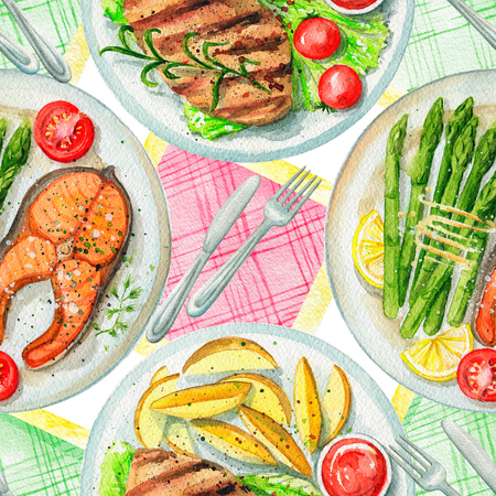 Seamless pattern with two kinds of dishes, napkins and tableware. Watercolor hand painted illustration Archivio Fotografico - 105222009