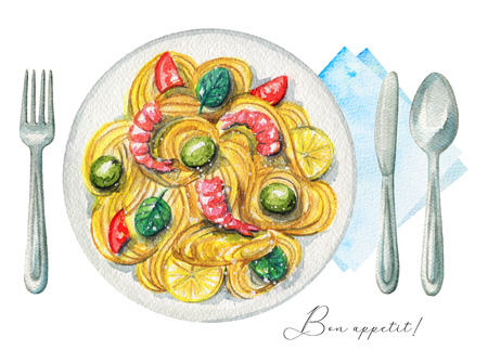 Delicious paste on a plate with shrimp, lemon, olives and tomatoes. Served with fork, knife, spoon and napkin. Watercolor hand painted illustration Stock Photo