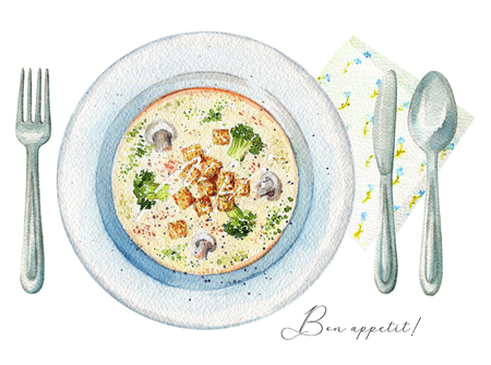 Cream soup on a plate with toasts, champignons and broccoli. Served with fork, knife, spoon and napkin. Watercolor hand painted illustration