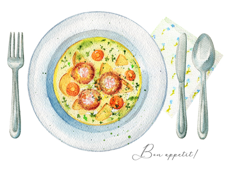 Delicious soup on a plate with meatballs, dill, potatoes and carrots. Served with fork, knife, spoon and napkin. Watercolor hand painted illustration Imagens
