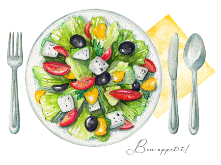 Greek salad on a plate with cheese feta, green salad, olives, sweet pepper and tomatoes. Served with fork, knife, spoon and napkin. Watercolor hand painted illustration