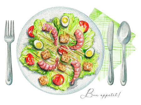 Caesar salad on a plate with quail eggs, shrimp, sauce, toasts and tomatoes. Served with fork, knife, spoon and napkin. Watercolor hand painted illustration Stock Photo