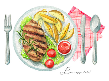 Red meat steak on a plate with green salad, ketchup, potatoes and tomatoes. Served with fork, knife, spoon and napkin. Watercolor hand painted illustration Stockfoto