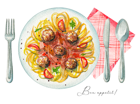 Carbonara paste on a plate with meatballs, greens, sauce and tomatoes. Served with fork, knife, spoon and napkin. Watercolor hand painted illustration