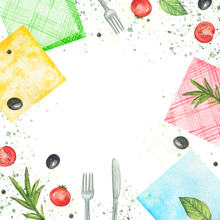 Composition with napkins, vegetables and tableware. Watercolor hand painted illustration