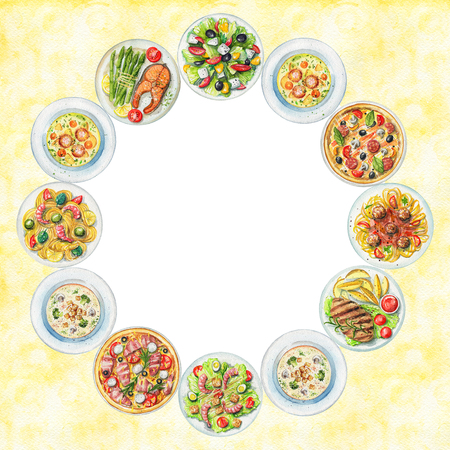 Round frame with salads, pasta, pizzas, soups, vegetables and dishes with two options of steaks on textured yellow background. Watercolor hand painted illustration Standard-Bild - 104455652