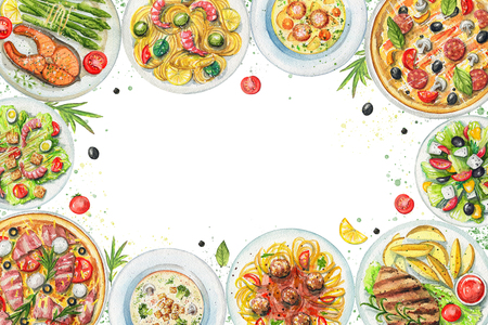 Rectangle frame with salads, pasta, pizzas, soups, vegetables and dishes with two options of steaks on white background. Watercolor hand painted illustration Stock Photo