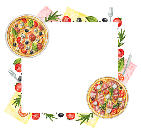 Rectangle frame with two kinds of pizzas on a plate, napkins, vegetables and tableware. Watercolor hand painted illustration