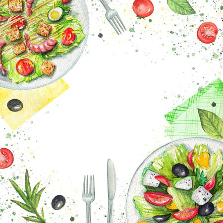 Composition with two kinds of salads on a plate, napkins, vegetables and tableware. Watercolor hand painted illustration Zdjęcie Seryjne - 104455662