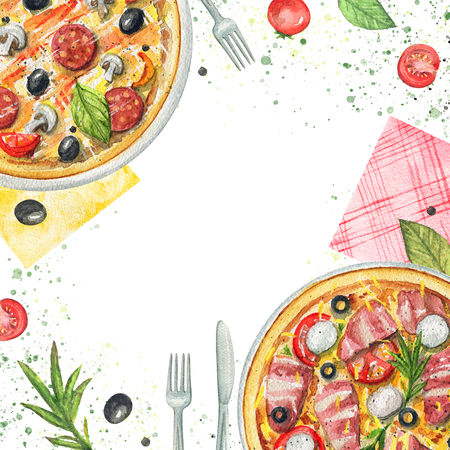 Composition with two kinds of pizzas on a plate, napkins, vegetables and tableware. Watercolor hand painted illustration Stock Photo