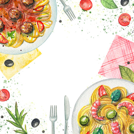 Composition with two kinds of pasta on a plate, napkins, vegetables and tableware. Watercolor hand painted illustration Standard-Bild - 104455666