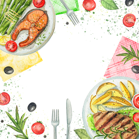 Composition with two kinds of dishes, napkins, vegetables and tableware. Watercolor hand painted illustration