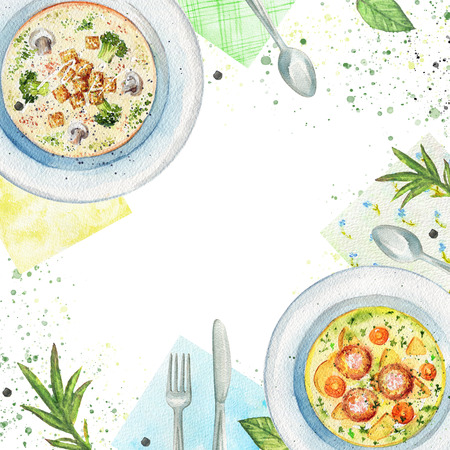 Composition with two kinds of  soups on a plate, napkins, vegetables and tableware. Watercolor hand painted illustration