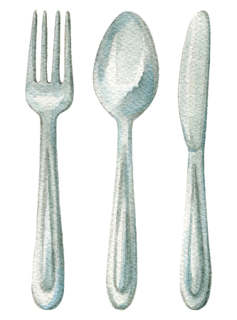 Set with fork, knife and spoon on white background. Watercolor hand painted illustration