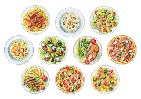 Set with salads, pasta, pizzas, soups and dishes with two options of steaks on white background. Watercolor hand painted illustration