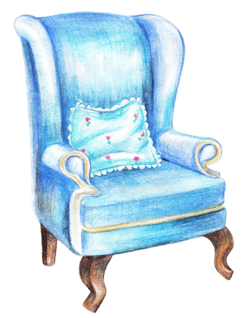 Vintage blue armchair with blue floral pillow isolated on white background. Watercolor pencils hand drawn illustration