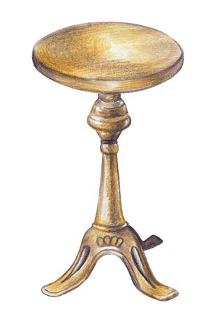 Sedia rotonda rotante in legno vintage per pianoforte isolato su priorità bassa bianca. Illustrazione disegnata a mano delle matite dell'acquerello