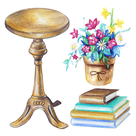 Set with round piano chair, pot with flowers and pile of books isolated on white background. Watercolor pencils hand drawn illustration
