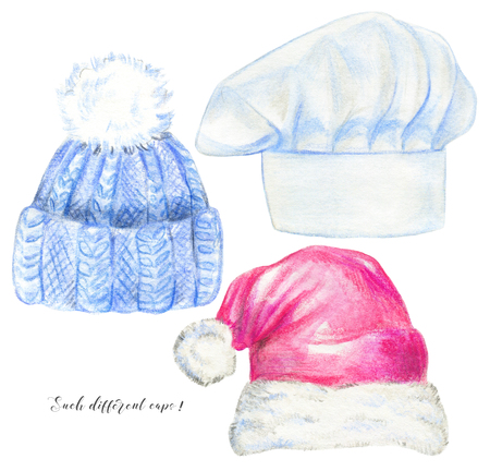 Set with knitted hat, chefs cap and santa hat isolated on white background. Watercolor pencils hand drawn illustration 스톡 콘텐츠