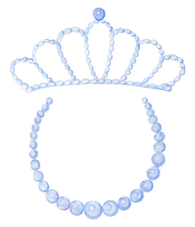 Set with diadem and necklace isolated on white background. Watercolor pencils hand drawn illustration Banque d'images - 104947362
