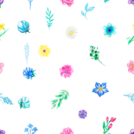 Vintage seamless pattern with flowers and plant elements on white background. Watercolor pencils hand drawn illustration