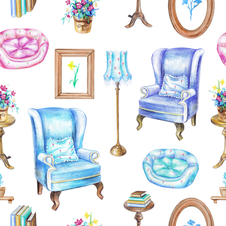 Seamless pattern with armchairs, floor lamp, paintings, potted flowers, rotating chair, books and pet bed isolated on white background. Watercolor pencils hand drawn illustration Stock Photo