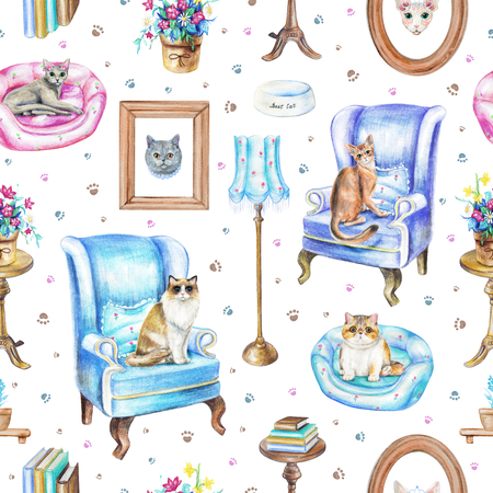 Seamless pattern with armchairs, floor lamp, paintings, potted flowers, bowl, rotating chair, books, pet bed, footprints and cats isolated on white background. Watercolor pencils hand drawn illustration