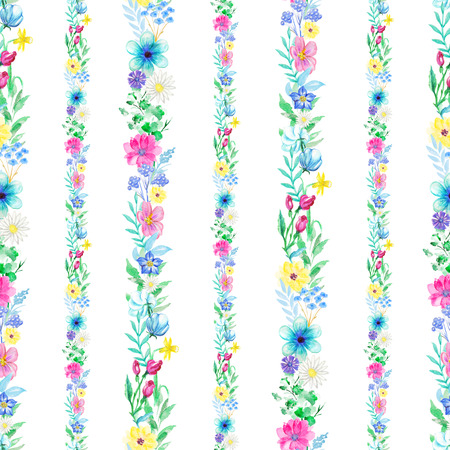 Vintage seamless pattern with flower strips ornament on white background. Watercolor pencils hand-drawn illustration