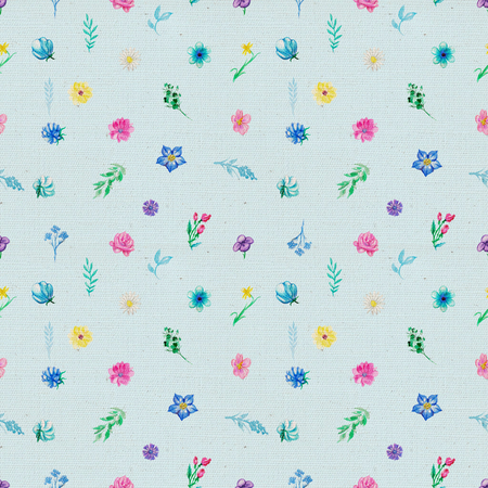 Vintage seamless pattern with flowers and plant elements on blue fabric background. Watercolor pencils hand drawn illustration