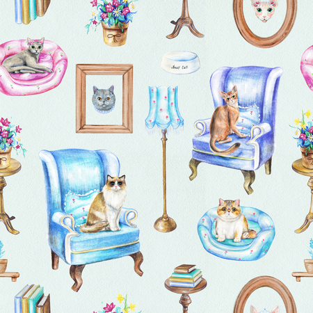 Seamless pattern with armchairs, floor lamp, paintings, potted flowers, bowl, rotating chair, books, pet bed and cats isolated on blue background. Watercolor pencils hand drawn illustration