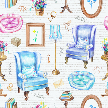 Seamless pattern with armchairs, floor lamp, paintings, potted flowers, rotating chair, books, pet bed and other items isolated on handwriting background. Watercolor pencils hand drawn illustration