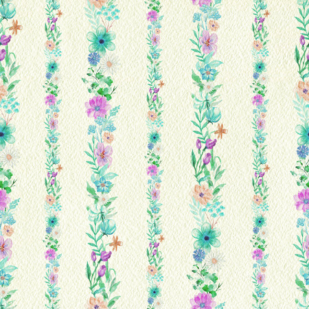 Vintage seamless pattern with flower strips ornament on beige paper background. Watercolor pencils hand-drawn illustration