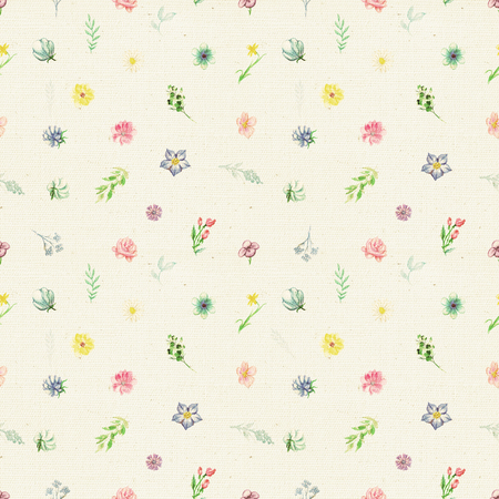 Vintage seamless pattern with flowers and plant elements on beige fabric background. Watercolor pencils hand-drawn illustration Stock Photo