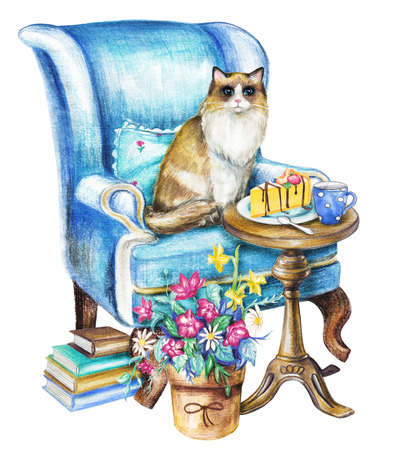 Composition with ragdoll cat, chair, pot of flowers, armchair mug, cake and books on white background. Watercolor pencils hand drawn illustration