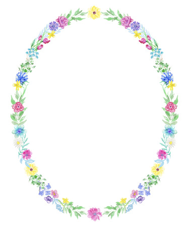 Oval frame with flowers and twigs on white background. Watercolor hand drawn illustration